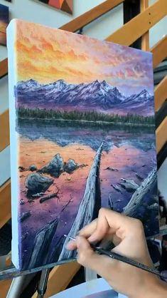 Acrylic Painting Tutorials, Acrylic Painting Inspiration, Acrylic Painting Lessons, Painting Videos, Acrylic Art, Small Canvas Art, Diy Canvas Art, Art Painting Gallery, Mountain Tattoo