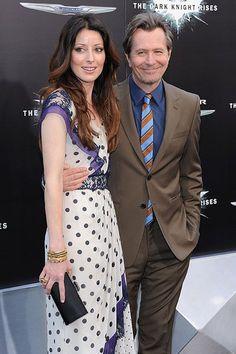 "Alexandra Edenborough and Gary Oldman attend ""The Dark Knight Rises"" premiere."