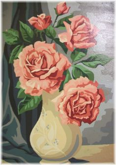 Kitschy, attractive, Paint By Number pictures for your retro hip home. Number Art, Paint By Number Kits, Paint By Number Vintage, Rose Vase, Coming Up Roses, Vintage Flowers, Retro Flowers, Amazing Flowers, Vintage Art