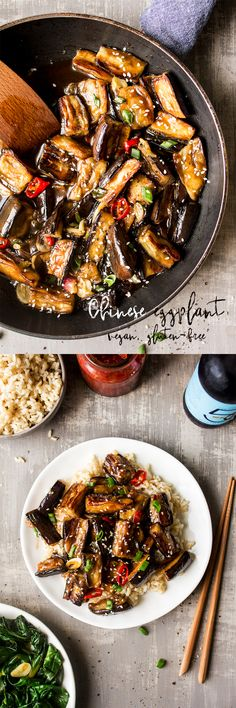 Vegan Chinese aubergine is a simple, naturally vegan dish that is easy to make and which makes for a very satisfying mid-week dinner. Veggie Recipes, Asian Recipes, Whole Food Recipes, Dinner Recipes, Cooking Recipes, Ethnic Recipes, Vegan Vegetarian, Vegetarian Recipes, Healthy Recipes