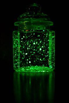 glowing firefly jar (splatter glow-in-the-dark paint)