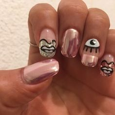 Japanese nail art, Yuki did my nails with chrome powder and these beautiful lips and eyes sooo cutee!!! - Yelp