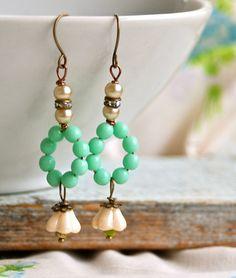 Spring Fling. glass beaded pearl rhinestone by tiedupmemories, $18.00