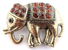Ladies Gold with Orange Iced Out Elephant Style Safety Pin Brooch & Pin Pendant JOTW. $0.01. Great Quality Jewelry!. 100% Satisfaction Guaranteed!. The approximate measurements of the brooch & pin is 1.5 inches from top to bottom, 2 inches from left to right.