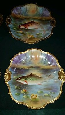 ANTIQUE Set of 4 ARTIST SIGNED LUG LIMOGES FRANCE HAND PAINTED FISH PLATE RARE