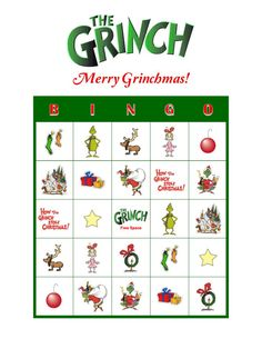 The Grinch Who Stole Christmas Party Game Bingo Cards Delivered by Email