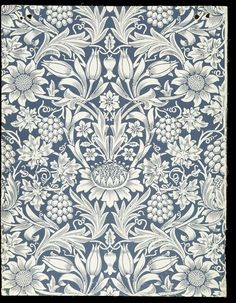 """Sunflower"" (1877) wallpaper designed by William Morris, a symmetrical, formalized pattern of sunflowers & grape vines with fruit, in blue & white; Block-printed by hand in distemper colour, on paper. This finely detailed, single-color design was an ongoing, purpose-driven effort, by Morris, to create quality offerings that were beautiful & affordable. #William_Morris #Morris_and_Co #Arts_and_Crafts #wallpaper #sunflower"