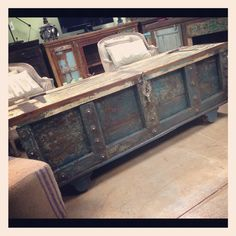 Old Door Trunk  Distressed Vintage Import Unique Furniture  Perfect storage at the foot of the bed, as a window seat, coffee table, etc. Fayetteville, AR