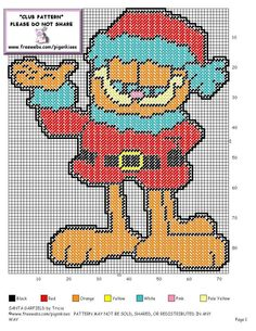 Plastic Canvas Ornaments, Plastic Canvas Christmas, Plastic Canvas Crafts, Plastic Canvas Patterns, Cross Stitching, Cross Stitch Embroidery, Cross Stitch Patterns, Christmas Cartoon Characters, Garfield