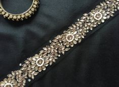 Black Indian Kundan Net Trim,Designer Calcutta Handmade Lace,Zari Kundan Beads Embroidered Trim,Brid