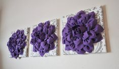 Lavender Flower on White with Grey Damask 3D Flower by bedbuggs