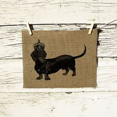 Burlap Wall Decor Vintage Dachshund with Crown Ilustration Vintage Dachshund, Dachshund Gifts, Burlap Pictures, Dog Pictures, Burlap Wall Decor, St Bernard Dogs, Printing On Burlap, Dog Paintings, Horse Love