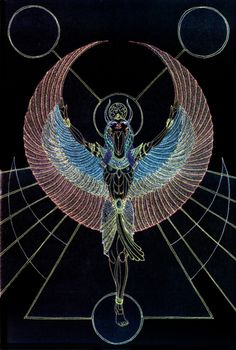 Isis by *Lakandiwa Traditional Art / Drawings / Miscellaneous *LakandiwaIsis* In rainbowed flight … gifts of magical births … and sacred tides … 2010 Metallic Gel Pen on Illustration Board *Isis is the Egyptian goddess of motherhood, fertility and magic Isis Goddess, Egyptian Goddess, Egyptian Symbols, Ancient Egyptian Art, Mystique, Ancient Artifacts, Gods And Goddesses, Traditional Art, Fantasy
