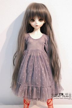 Grey Lace Dresses for Dollfie Slim MSD Unoa BJD Narae by MINIJIJO, $27.00