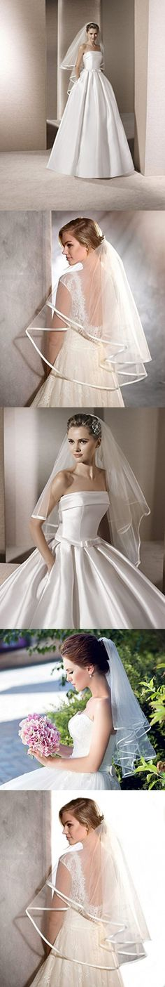 POP DESIGNER Two Tier Satin Veil with Ribbon Trim and Blusher Bridal Veil Ivory Elbow 204 (Ivory)