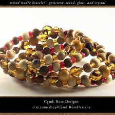 Items similar to Memory Wire Coiled Bracelet - Brown Tigerskin Jasper (limestone) - Grainstone - Wood - Yellow Miracle Beads - Glass Seed Beads - Wide Cuff on Etsy Beaded Jewelry, Beaded Bracelets, Unique Jewelry, Rose Design, Wooden Beads, Cut Glass, Round Beads, Jasper, Seed Beads