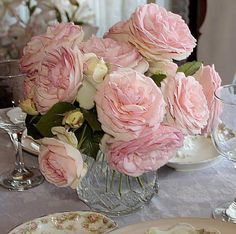 can't beat fresh cut roses from the garden Pink Roses, Pink Flowers, Raindrops And Roses, Rose Centerpieces, Romantic Shabby Chic, Crystal Vase, Most Beautiful Flowers, Flower Power, Floral Arrangements