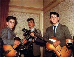 The Beatles in 1957. George Harrison is 14 John Lennon is 16 and Paul McCartney is 15.  ----> if you like great stories from any time, like HistoryBites now!