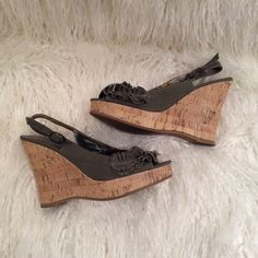 MADDEN GIRL wedge sandals Madden Girl stylish sling back wedges. These designer sandals have a cork heel and fabric is olive green canvas. These wedges look great with jeans or with a cute dress. Minor wear on bottoms. Madden Girl Shoes Wedges