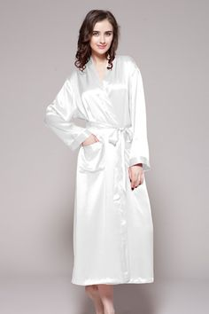 e80b62ad64 White color 100-percent pure silk robes for women sale are online. Choose  this