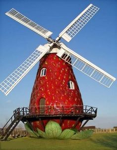 Crazy Picture: Cool Unique House Designs.  Sweet Strawberry Windmill House. Delicious and energy efficient!