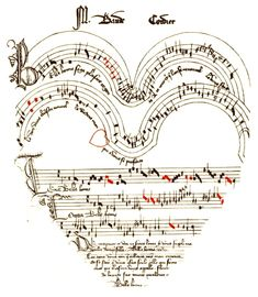 Score of 'Chanson Belle Bonne Sage' from the Chantilly Manuscript, c. 1350-1400. It is a dedicatory piece on the love of a lady and a lord written in the shape of a #heart.