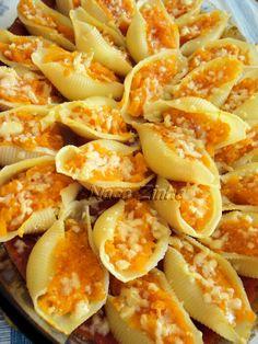 Conchiglioni de abóbora aos três queijos