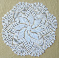 Doily Cream Pinwheel 16 inches crocheted by me