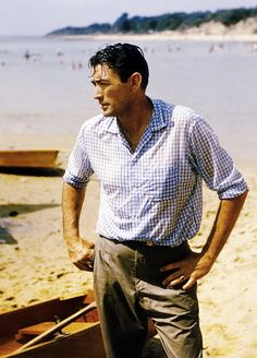 ON THE BEACH (1959) - Gregory Peck on the beach in Melbourne, Australia - Based on the novel by Nevin Shute - Produced & Directed by Stanley Kramer - United Artists -