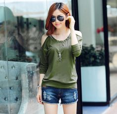 Off Bear Shoulder Long Bat Sleeve T-Shirt Blouse