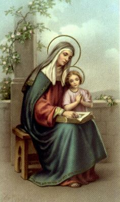 Anne, The Mother of the Blessed Virgin Mary Mary Jesus Mother, Blessed Mother, St Anne, Religious Images, Religious Art, Catholic Prayers Daily, Catholic Crafts, Catholic Religion, Religion Catolica