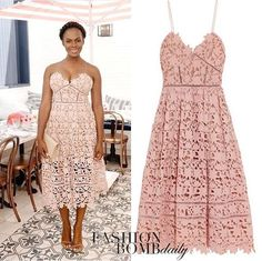 Tika Sumpter attended Glamour Women Changer's brunch in a Self Portrait Lace Blush Dress