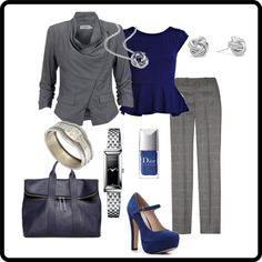 Grey & deep blue work day outfit