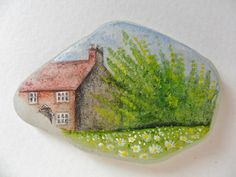 Summer cottage - Original acrylic miniature painting on frosted sea glass