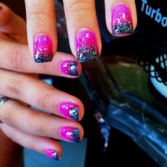 One nail like this with coral and silver, the rest coral with white tips with silver glitter separating the coral! My prom nails.