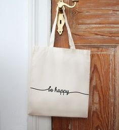 "Jutebeutel ""be happy"" // Tote bag ""be happy"" by Eulenschnitt… Tods Bag, Sac Tods, Diy Tote Bag, Reusable Tote Bags, Custom Makeup Bags, Personalized Makeup Bags, Diy Wallet, Bachelorette Gifts, Custom Tote Bags"