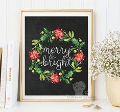Christmas Holiday Printable Home Decor Merry by LittleEmmasFlowers