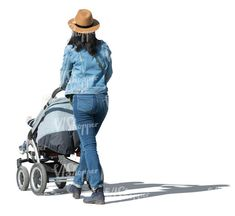 cut out woman with a baby stroller walking