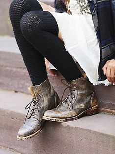 Byron Boot | Soft and supple handcrafted genuine leather lace-up ankle boots with zip backs. Distressed finishes and Goodyear Welt soles. *By Bed Stu + Free People