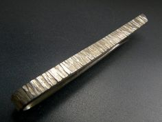 Textured Sterling Silver Tie Pin  - The Ridge - Wedding Tie Clip  - Personalised Tie Bar on Etsy, $68.93 CAD