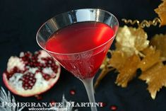 Sweet and tart martini made with pomegranate liqueur, vodka, honey liqueur, and pomegranate juice. Pomegranate Drinks, Chocolate Liquor, White Chocolate, New Years Cocktails, Vodka, Tart, Cooking, Sweet, Kochen