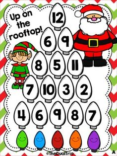 Up on the Rooftop - Addition Freebie Christmas Math Worksheets, 2nd Grade Math Worksheets, 1st Grade Math, Preschool Christmas, Christmas Activities, Second Grade, Math Stations, Math Centers, Preschool Games