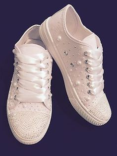 Wedding Converse Style Trainers Personalised Pearls Diamante White 3 4 5 6 7 8