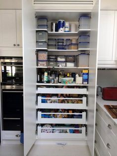 Cool And Contemporary kitchen pantry cabinet dimensions made easy - pantry redo Kitchen Pantry Design, Kitchen Pantry Cabinets, Kitchen Redo, Home Decor Kitchen, Interior Design Kitchen, New Kitchen, Kitchen Storage, Larder Storage, Small Kitchen Pantry