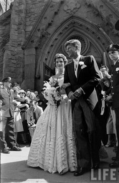 Mr. And Mrs. John f. Kennedy leave St. Mary's Roman Catholic Church in Newport, Rhode Island after their wedding ceremony on September 12, 1953. From the Life Magazine photo archives via Retronaut.co...
