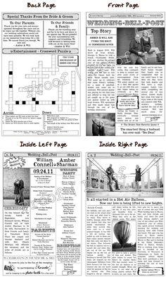 Wedding Program Newspaper Template | Mini Newspaper Program ...