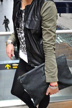 green + black leather jacket.