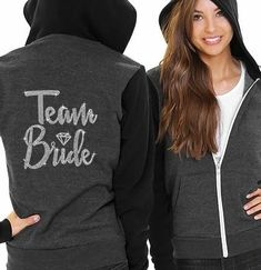 Looking for a unique gift to get the bridal party? Celebrate with these cozy fleece hoodies for the whole bridal party. These unisex charcoal and black hoodies have a real crystal rhinestone graphic on the back. Choose from Bride, Maid of Honor, Bridesmaid, Team Bride, I Do Crew or Bride Squad. Perfect for any themed bachelorette party including a spa day party or an outdoor party in fall! Diamond Hoodie, Spa Day Party, Bachelorette Party Themes, Colorful Hoodies, Team Bride, Fleece Hoodie, Maid Of Honor, Black Hoodie, Crystal Rhinestone