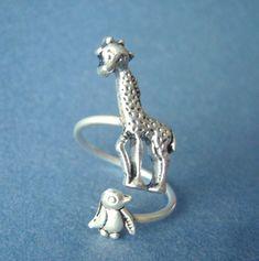 0900f0acb89 silver penguin giraffe ring wrap style adjustable ring by stavri Giraffe  Ring