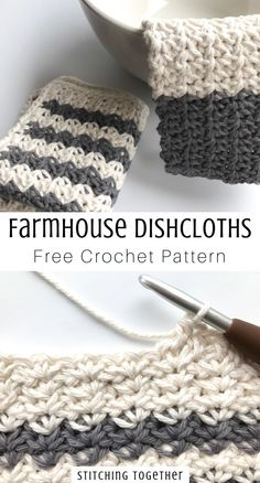 Dont you just love crocheting dishcloths? These pretty farmhouse dishcloths work perfectly for your own kitchen as as a housewarming gift. Click to visit the free pattern and see the other patterns in the set. #crochet #crocheting